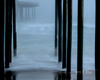 Images of different fishing piers in the early morning.